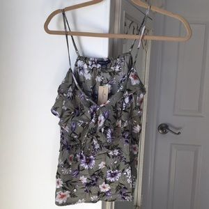American Eagle Green Floral Tank Top